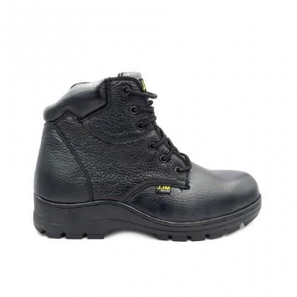 Safety Steel Toe Steel Plate Anti Slip Leather Boots - Black J96-9802