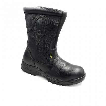 Safety Steel Toe Steel Plate Anti Slip Leather High Boots - Black J96-9805