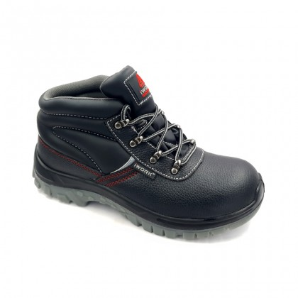 Safety Steel Toe Steel Plate Anti Slip Leather Boots - Black W97-9709A