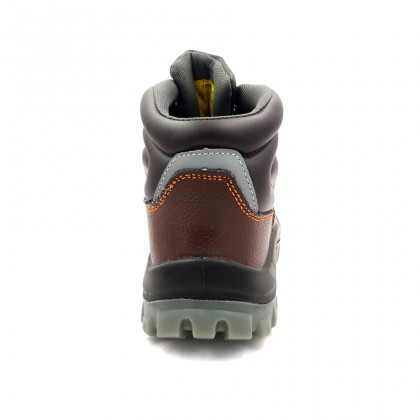 Safety Steel Toe Steel Plate Anti Slip Leather Boots - Brown W97-9709A
