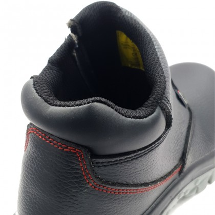 Safety Steel Toe Steel Plate Anti Slip Leather Boots - Black W97-9710A