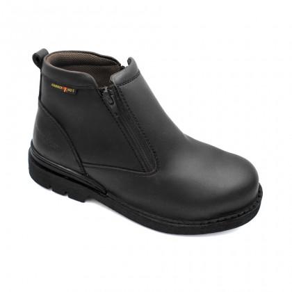 Safety Steel Toe Steel Plate Anti Slip Genuine Leather Boots - Black MZHK13003