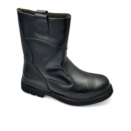 Safety Steel Toe Steel Plate Anti Slip Genuine Leather Boots - Black MZHK13005