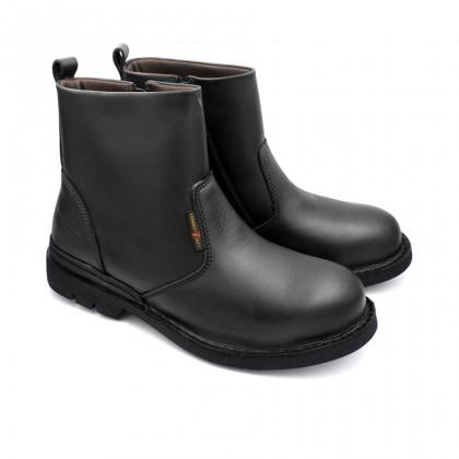 Safety Steel Toe Steel Plate Anti Slip Genuine Leather Boots - Black MZHK13006