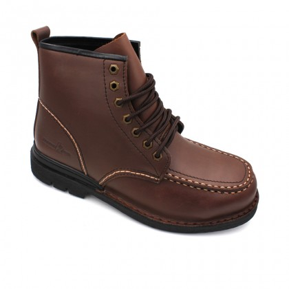 Safety Steel Toe Steel Plate Anti Slip Genuine Leather Boots - Brown MZHK13007