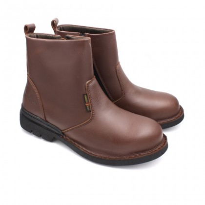 Safety Steel Toe Steel Plate Anti Slip Genuine Leather Boots - Brown MZHK13006
