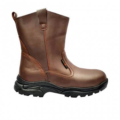 Safety Steel Toe Steel Plate Anti Slip Genuine Leather Boots - Brown MZHK13021
