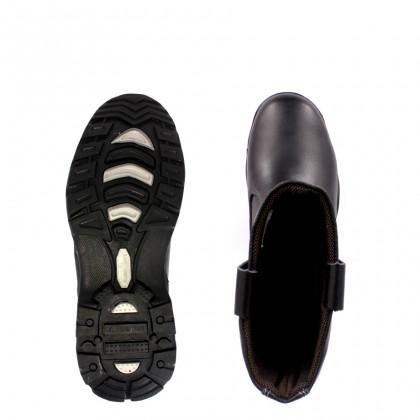 Safety Steel Toe Steel Plate Anti Slip Genuine Leather Boots - Black MZHK13022