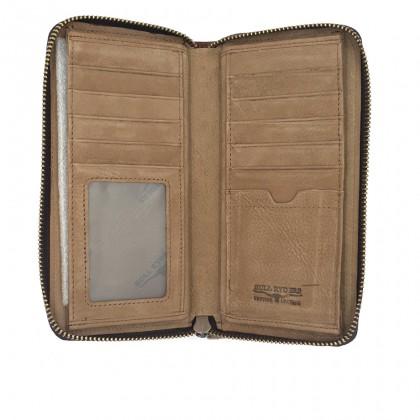 Bifold Genuine Leather Mens Long Zipper Wallet RFID Blocking - Brown BWGG-80459