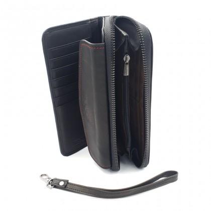 Bifold Leather Mens Long Zipper Wallet - Black BWHS-80679