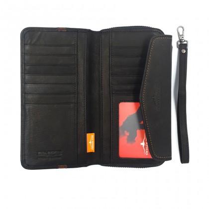 Bifold Genuine Leather Mens Long Zipper Wallet RFID Blocking - Black BWGY-80568